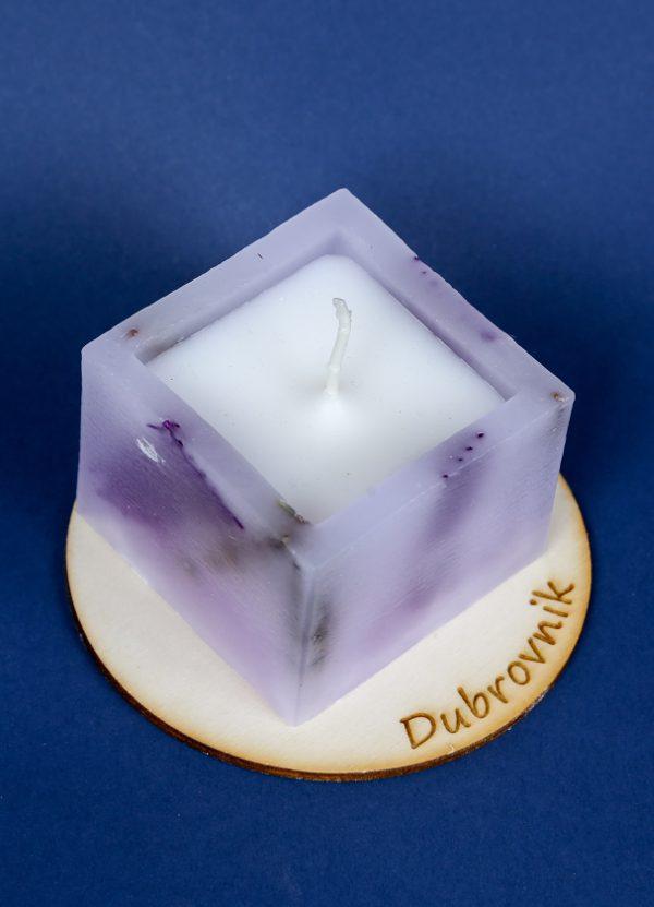 mirisna svijeća kocka sa drvenim podloškom